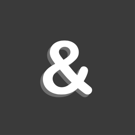 ampersand: An Icon Isolated on a Grey Background - Ampersand Stock Photo
