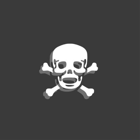 cross bones: An Icon Isolated on a Grey Background - Skull and Cross Bones Stock Photo