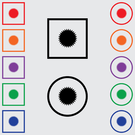 spikey: Illustrations of Multiple Coloured Square and Round Icons Isolated on a Grey Background - Spikey Circle