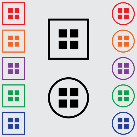 multiple image: Illustrations of Multiple Coloured Square and Round Icons Isolated on a Grey Background - Image Grid Stock Photo
