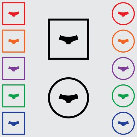 briefs: Illustrations of Multiple Coloured Square and Round Icons Isolated on a Grey Background - Womens Briefs Stock Photo