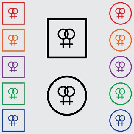 lesbian: Illustrations of Multiple Coloured Square and Round Icons Isolated on a Grey Background - Lesbian