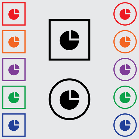 exploded: Illustrations of Multiple Coloured Square and Round Icons Isolated on a Grey Background - Pie Chart Exploded