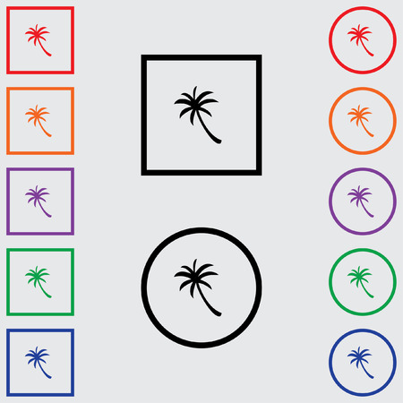 palmtree: Illustrations of Multiple Coloured Square and Round Icons Isolated on a Grey Background - Palmtree