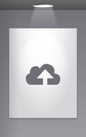 wall cloud: A Grey Icon Isolated on Gallery Wall - Cloud Upload Stock Photo