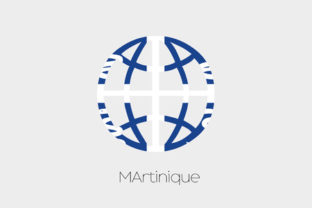 martinique: A Flag Illustration inside a world icon of Martinique
