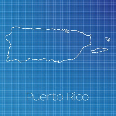 schematic: A Schematic outline of the country of Puerto Rico Stock Photo