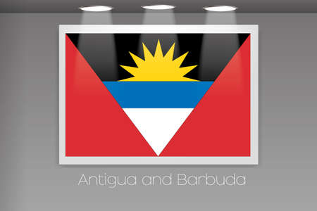antigua: A Flag Isolated on Gallery Wall of Antigua and Barbuda
