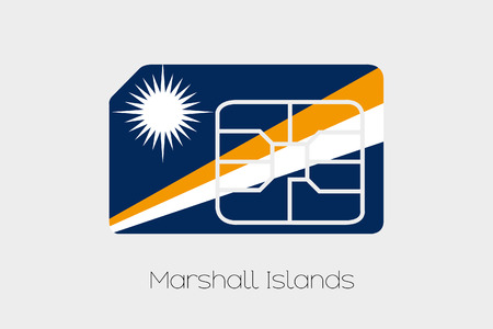marshall: A SIM Card Flag Illustration of the country of Marshall Islands