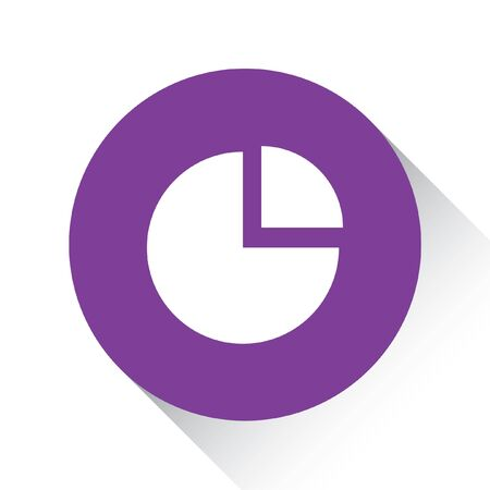 exploded: A Purple Icon Isolated on a White Background - Pie Chart Exploded Stock Photo