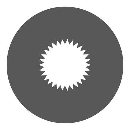 spikey: A White Icon Isolated on a Grey Background - Spikey Circle