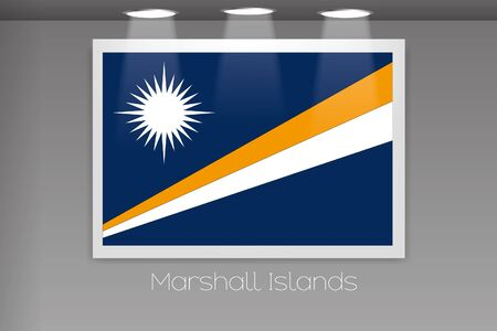 marshall: A Flag Isolated on Gallery Wall of Marshall Islands