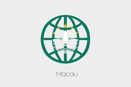macau: A Flag Illustration inside a world icon of Macau