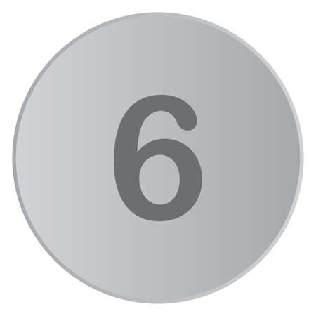 six web website: A Grey Icon Isolated on a Button with Grey Background - 6 Stock Photo