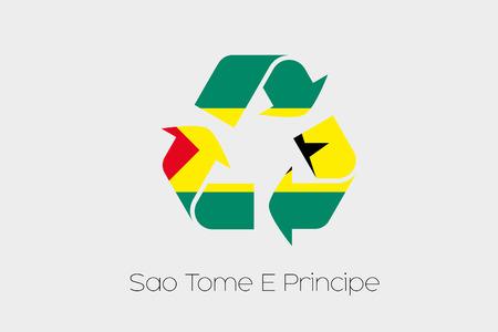 principe: Una ilustración de la bandera dentro de un Icono de reciclaje del país de Santo Tomé y Príncipe Foto de archivo