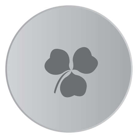 clover button: A Grey Icon Isolated on a Button with Grey Background - Clover