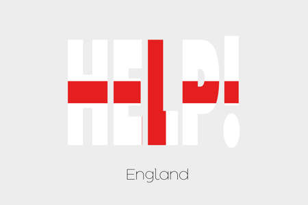 england politics: A Flag Illustration inside the word Help of the country of England Stock Photo