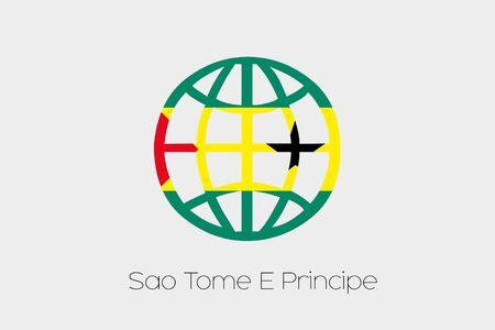 principe: A Flag Illustration inside a world icon of Sao Tome E Principe Foto de archivo
