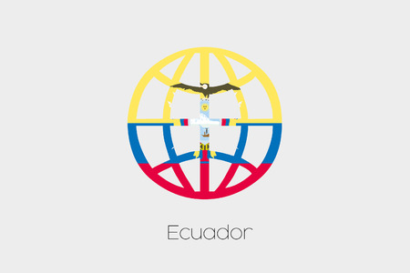 patriotism: A Flag Illustration inside a world icon of Ecuador