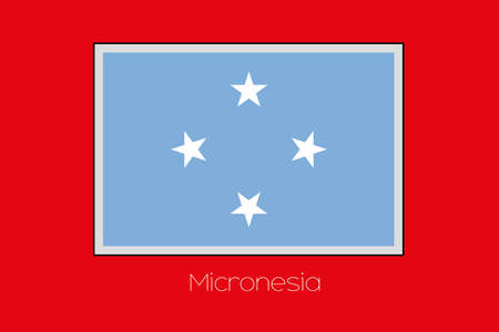 micronesia: A Flag Illustration on a Red Background of the country of Micronesia