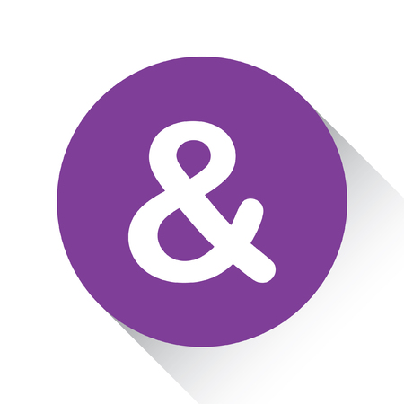 ampersand: A Purple Icon Isolated on a White Background - Ampersand Stock Photo