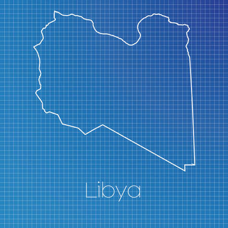 schematic diagram: A Schematic outline of the country of Libya Stock Photo