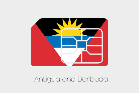 antigua: A SIM Card Flag Illustration of the country of Antigua and Barbuda