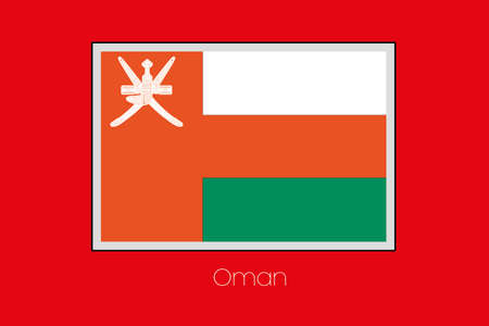 oman background: A Flag Illustration on a Red Background of the country of Oman