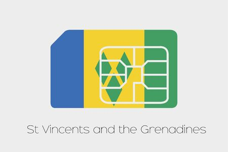 grenadines: A SIM Card Flag Illustration of the country of Saint Vincents and the Grenadines Stock Photo