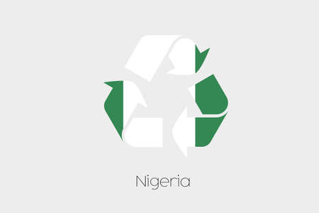 country nigeria: A Flag Illustration inside a Recycling Icon of the country of Nigeria Stock Photo