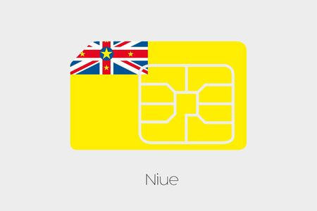 niue: A SIM Card Flag Illustration of the country of Niue