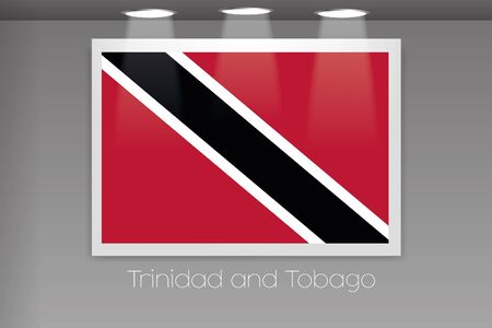 trinidad: A Flag Isolated on Gallery Wall of Trinidad and Tobago Stock Photo