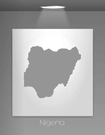 country nigeria: A Gallery Illustration with the country shape of Nigeria