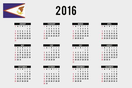 samoa: A 2016 Calendar with the Flag of American Samoa
