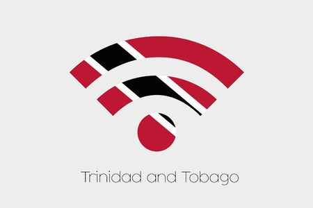 trinidad and tobago: A Flag Illustration inside a Networking Icon of the country of Trinidad and Tobago Stock Photo