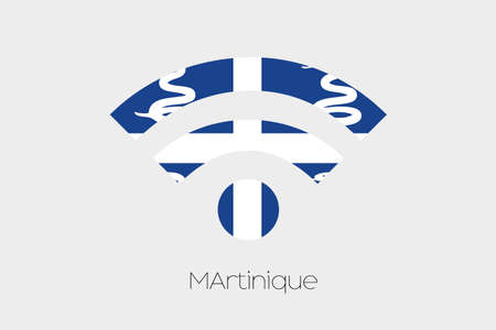 martinique: A Flag Illustration inside a Networking Icon of the country of Martinique Stock Photo
