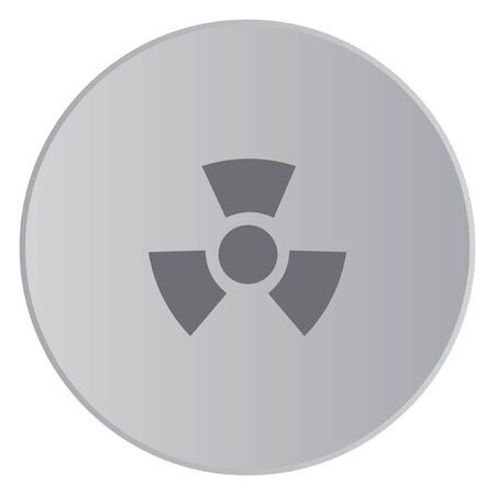 radio active: A Grey Icon Isolated on a Button with Grey Background - Radio Active Round