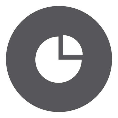 exploded: A White Icon Isolated on a Grey Background - Pie Chart Exploded