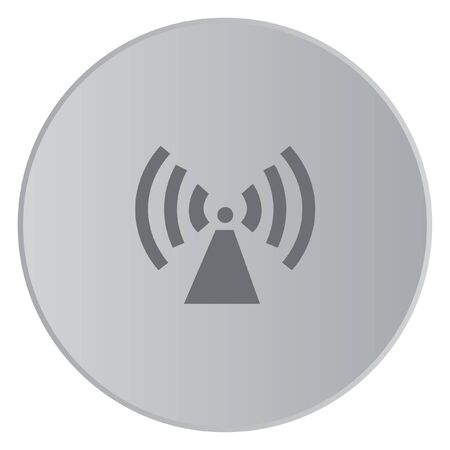 radio tower: A Grey Icon Isolated on a Button with Grey Background - Radio Tower