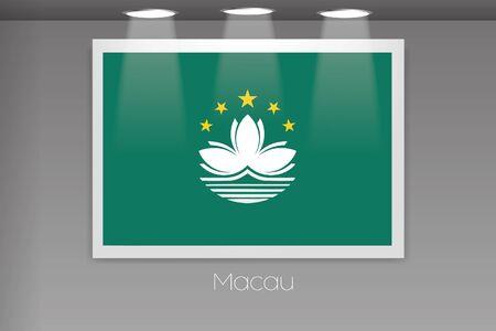 macau: A Flag Isolated on Gallery Wall of Macau