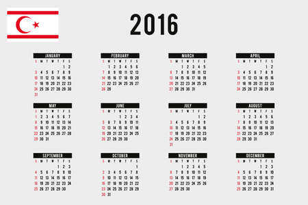 northern: A 2016 Calendar with the Flag of Northern Cyprus