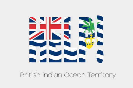 indian ocean: A Flag Illustration inside the word Help of the country of British Indian Ocean Territory Stock Photo