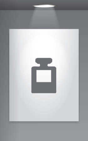 inkpot: A Grey Icon Isolated on Gallery Wall - InkPot Stock Photo