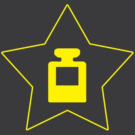 inkpot: A Yellow Icon Isolated on a Grey Background inside a star - InkPot