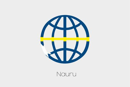 nauru: A Flag Illustration inside a world icon of Nauru Stock Photo