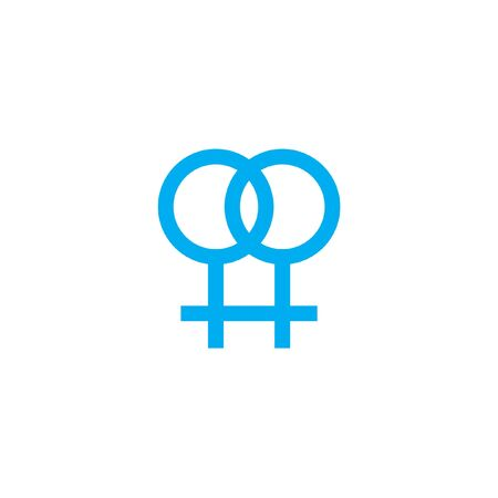 lesbian: A Blue Icon Isolated on a White Background - Lesbian