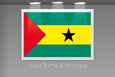 principe: A Flag Isolated on Gallery Wall of Sao Tome E Principe Foto de archivo