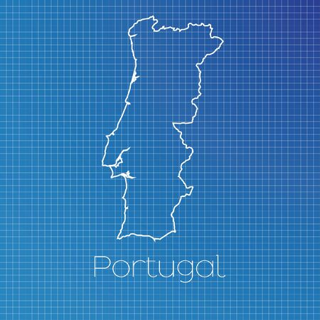 schematic: A Schematic outline of the country of Portugal Stock Photo