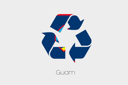 guam: A Flag Illustration inside a Recycling Icon of the country of Guam Stock Photo