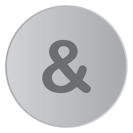 ampersand: A Grey Icon Isolated on a Button with Grey Background - Ampersand Stock Photo